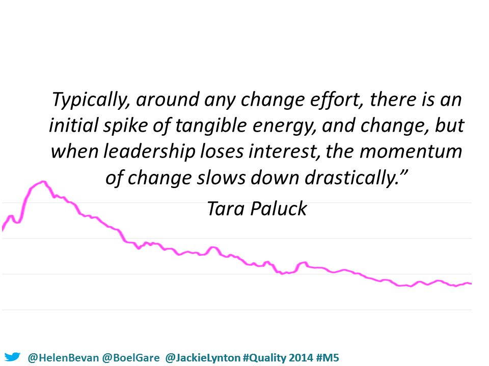 @HelenBevan @BoelGare @JackieLynton #Quality 2014 #M5 Typically, around any change effort, there is an initial spike of tangible energy, and change, but when leadership loses interest, the momentum of change slows down drastically. Tara Paluck