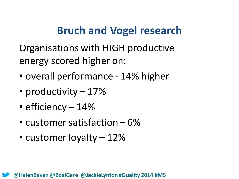 @HelenBevan @BoelGare @JackieLynton #Quality 2014 #M5 Bruch and Vogel research Organisations with HIGH productive energy scored higher on: overall performance - 14% higher productivity – 17% efficiency – 14% customer satisfaction – 6% customer loyalty – 12%