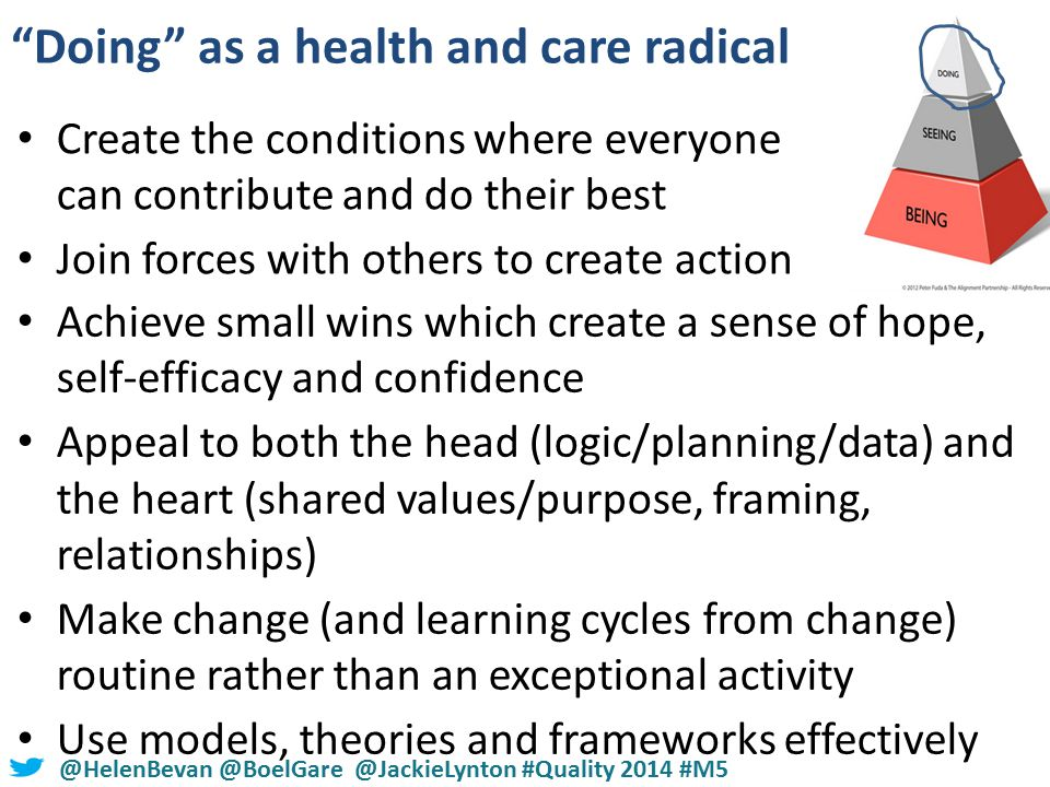 #NHSChangeDay #SHCRchat@HelenBevan @BoelGare @JackieLynton #Quality 2014 #M5 Doing as a health and care radical Create the conditions where everyone can contribute and do their best Join forces with others to create action Achieve small wins which create a sense of hope, self-efficacy and confidence Appeal to both the head (logic/planning/data) and the heart (shared values/purpose, framing, relationships) Make change (and learning cycles from change) routine rather than an exceptional activity Use models, theories and frameworks effectively
