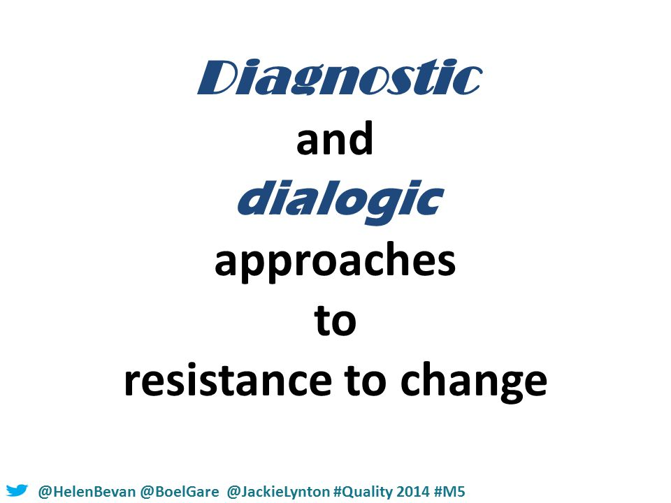 #NHSChangeDay #SHCRchat@HelenBevan @BoelGare @JackieLynton #Quality 2014 #M5 Diagnostic and dialogic approaches to resistance to change