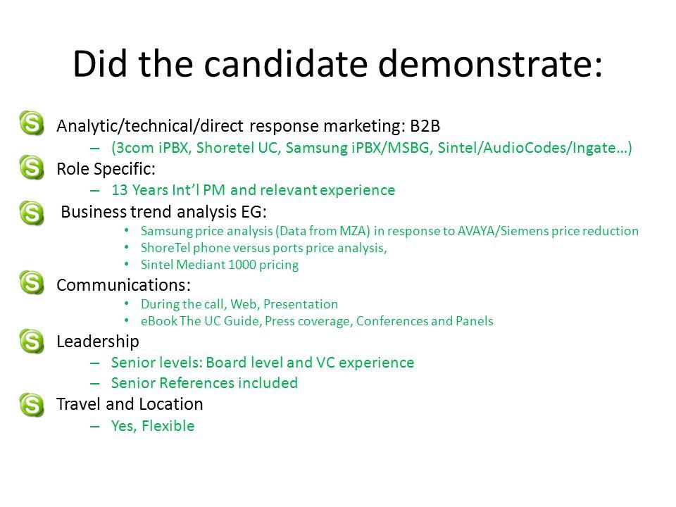 Did the candidate demonstrate: Analytic/technical/direct response marketing: B2B – (3com iPBX, Shoretel UC, Samsung iPBX/MSBG, Sintel/AudioCodes/Ingat
