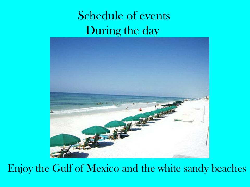 Schedule of events During the day Enjoy the Gulf of Mexico and the white sandy beaches