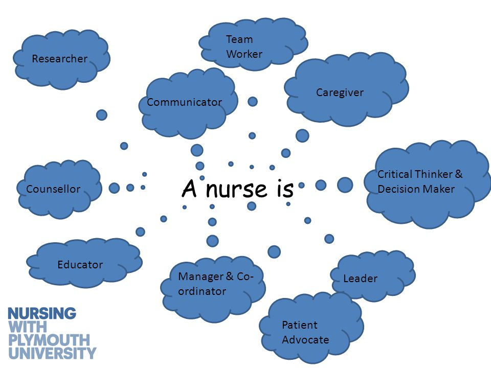 A nurse is Caregiver Critical Thinker & Decision Maker Communicator Educator Manager & Co- ordinator Counsellor Leader Researcher Team Worker Patient Advocate