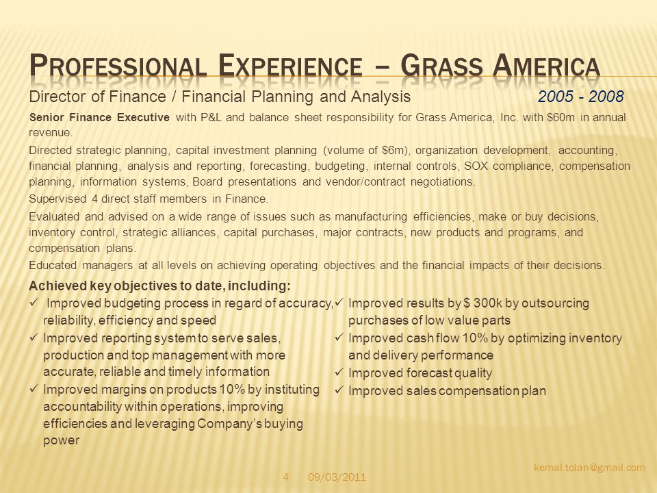 Director of Finance / Financial Planning and Analysis 2005 - 2008 Senior Finance Executive with P&L and balance sheet responsibility for Grass America, Inc.