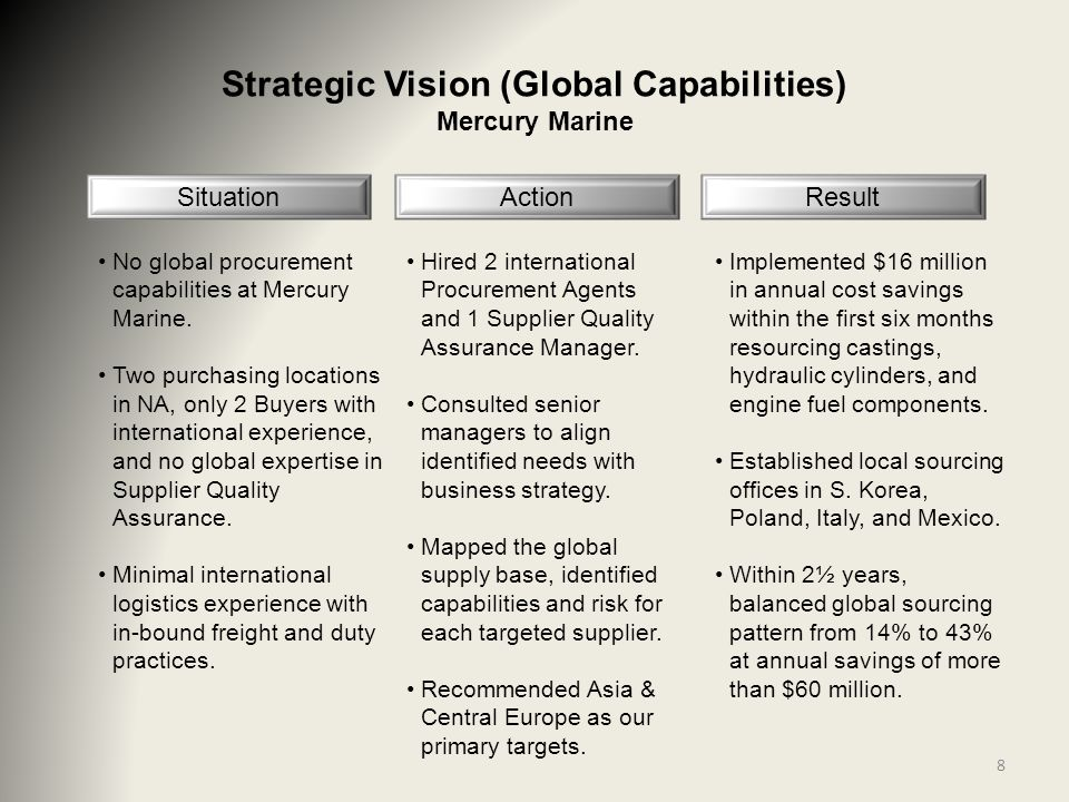 Strategic Vision (Global Capabilities) Mercury Marine Situation No global procurement capabilities at Mercury Marine.