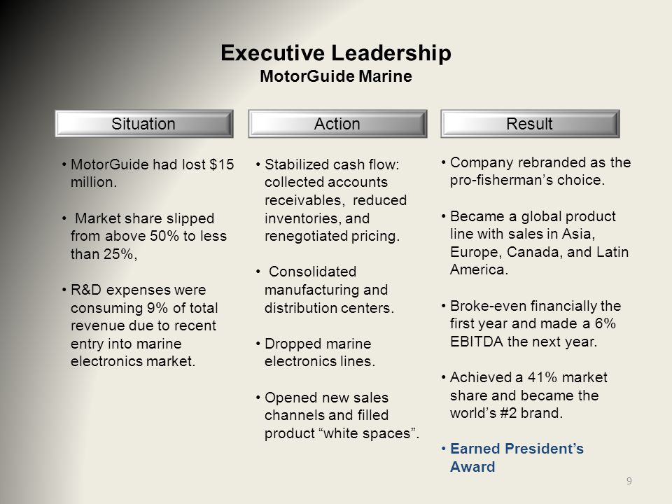 9 Executive Leadership MotorGuide Marine Situation MotorGuide had lost $15 million. Market share slipped from above 50% to less than 25%, R&D expenses
