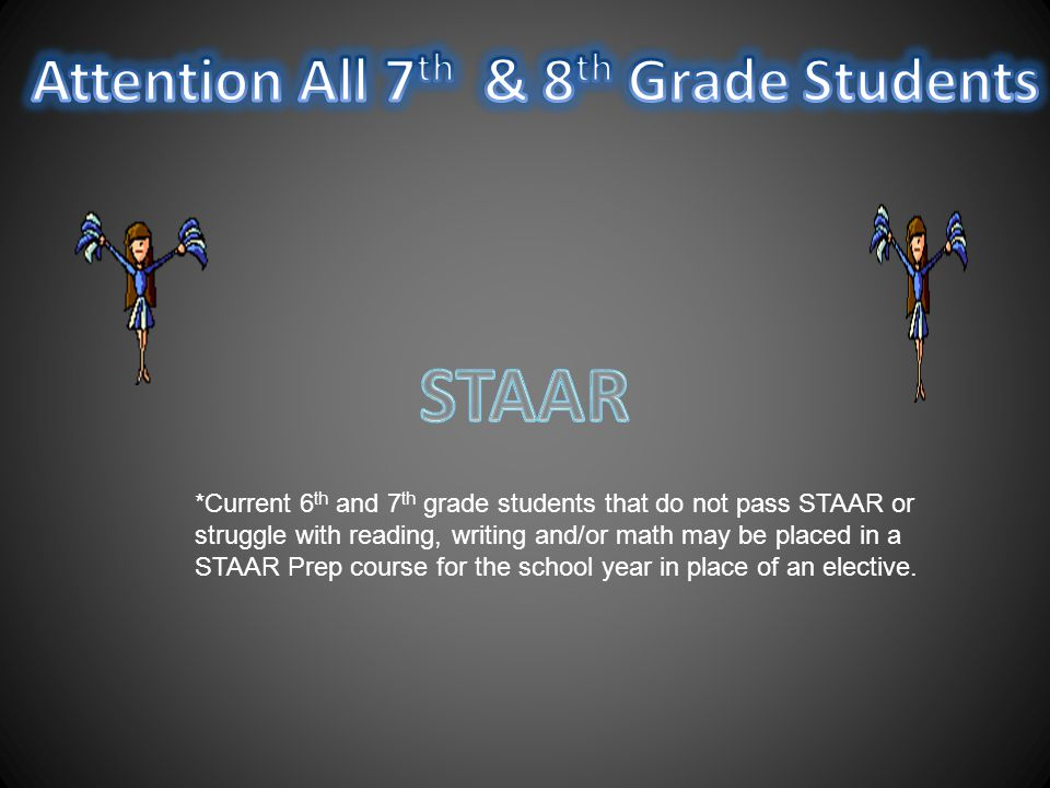 *Current 6 th and 7 th grade students that do not pass STAAR or struggle with reading, writing and/or math may be placed in a STAAR Prep course for the school year in place of an elective.