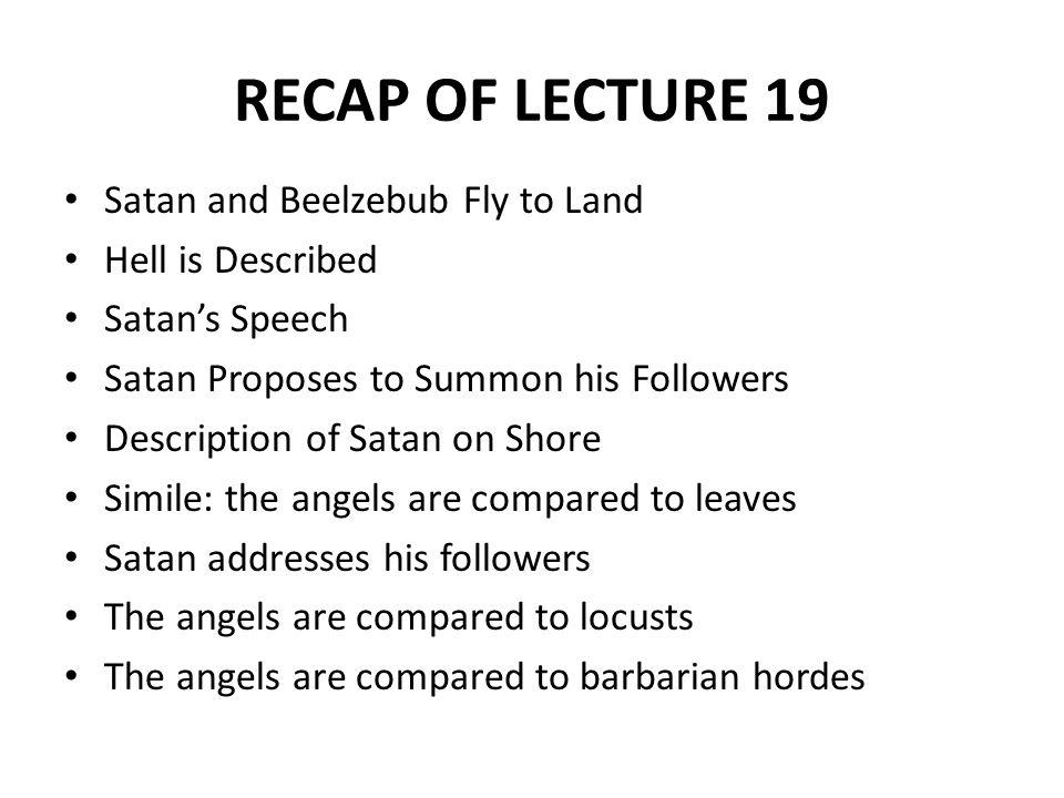 REVIEW OF LECTURE 19 Description: Rebel Angels Description: Satan and his Followers