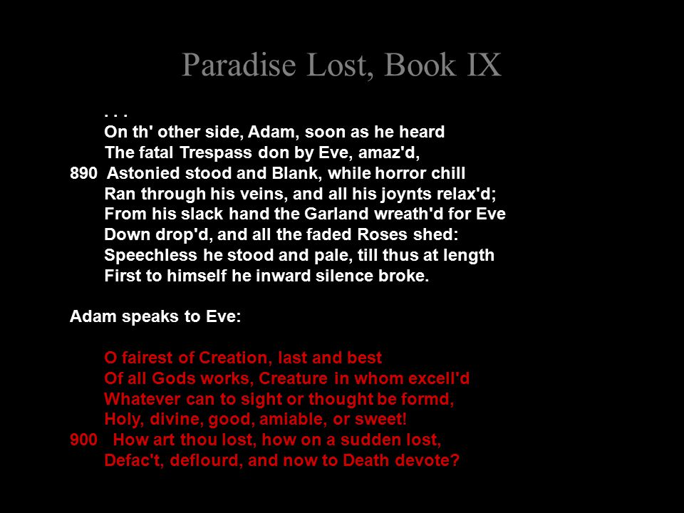 Paradise Lost, Book IX...