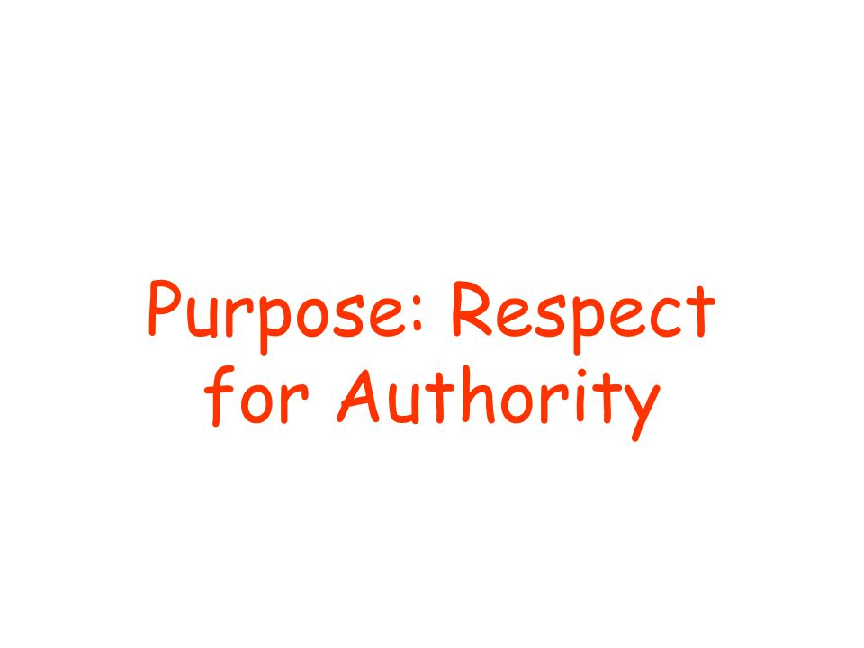 Purpose: Respect for Authority