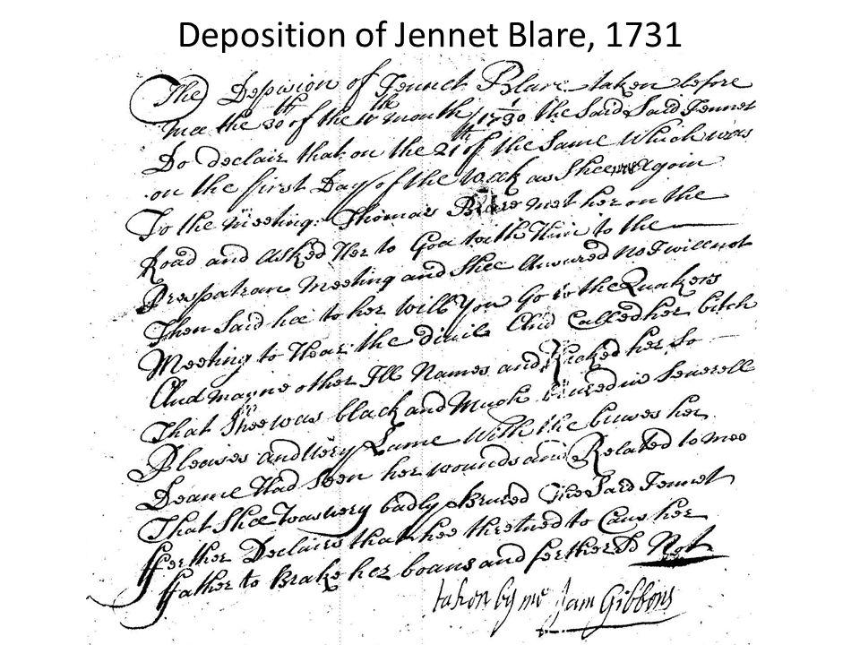 Deposition of Jennet Blare, 1731