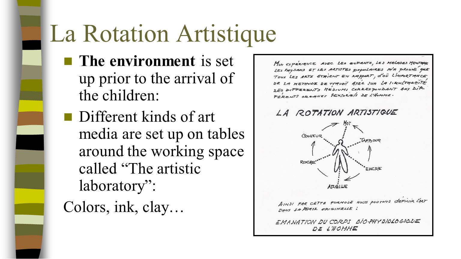 La Rotation Artistique The environment is set up prior to the arrival of the children: Different kinds of art media are set up on tables around the wo
