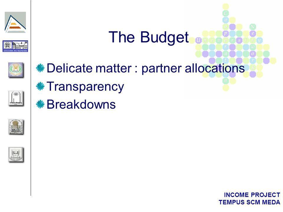 INCOME PROJECT TEMPUS SCM MEDA The Budget Delicate matter : partner allocations Transparency Breakdowns