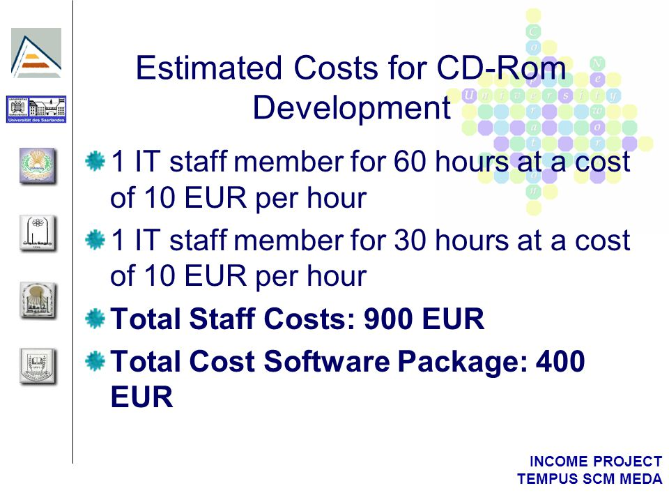 INCOME PROJECT TEMPUS SCM MEDA Estimated Costs for CD-Rom Development 1 IT staff member for 60 hours at a cost of 10 EUR per hour 1 IT staff member for 30 hours at a cost of 10 EUR per hour Total Staff Costs: 900 EUR Total Cost Software Package: 400 EUR
