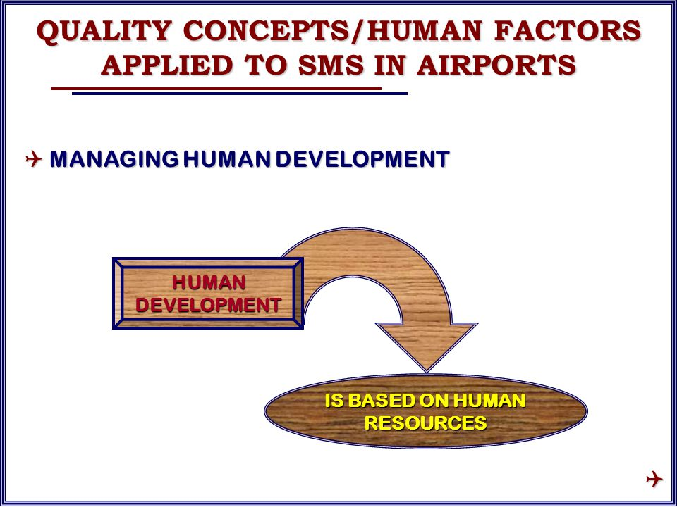 HUMAN DEVELOPMENT IS BASED ON HUMAN RESOURCES QUALITY CONCEPTS/HUMAN FACTORS APPLIED TO SMS IN AIRPORTS  MANAGING HUMAN DEVELOPMENT 