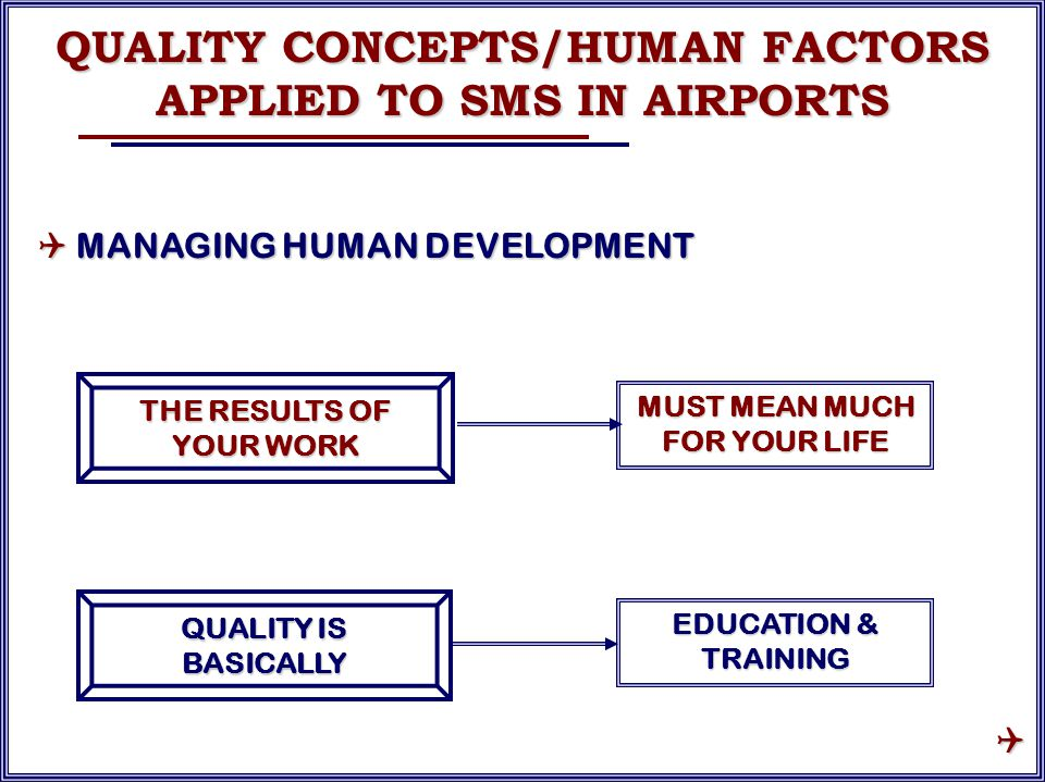 THE RESULTS OF YOUR WORK MUST MEAN MUCH FOR YOUR LIFE QUALITY IS BASICALLY EDUCATION & TRAINING QUALITY CONCEPTS/HUMAN FACTORS APPLIED TO SMS IN AIRPORTS  MANAGING HUMAN DEVELOPMENT 