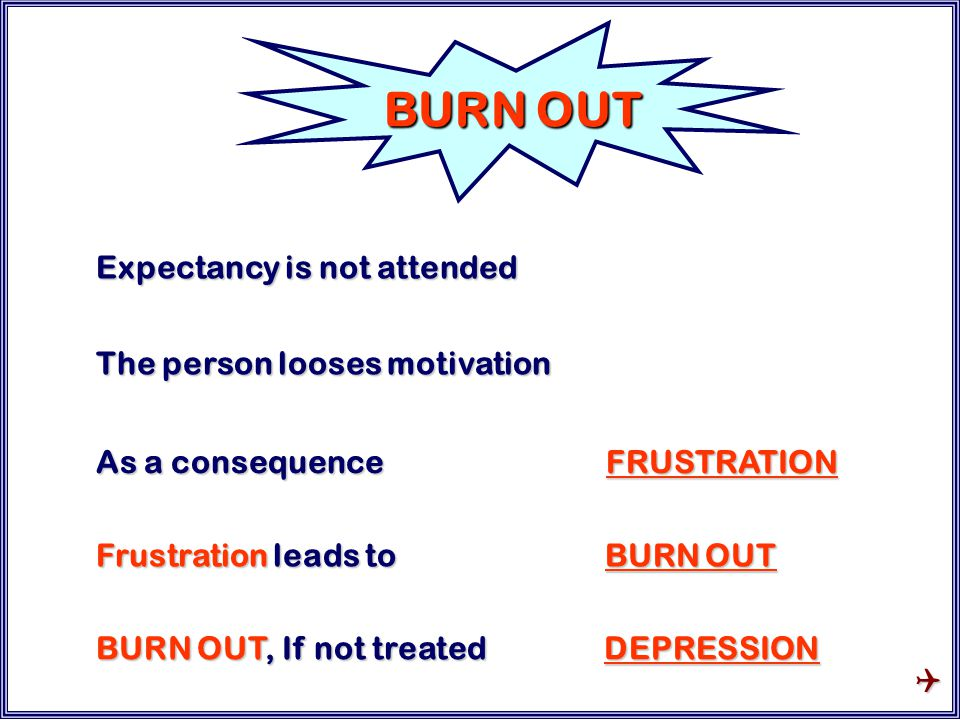Expectancy is not attended The person looses motivation As a consequence FRUSTRATION BURN OUT Frustration leads to BURN OUT BURN OUT, If not treated DEPRESSION 