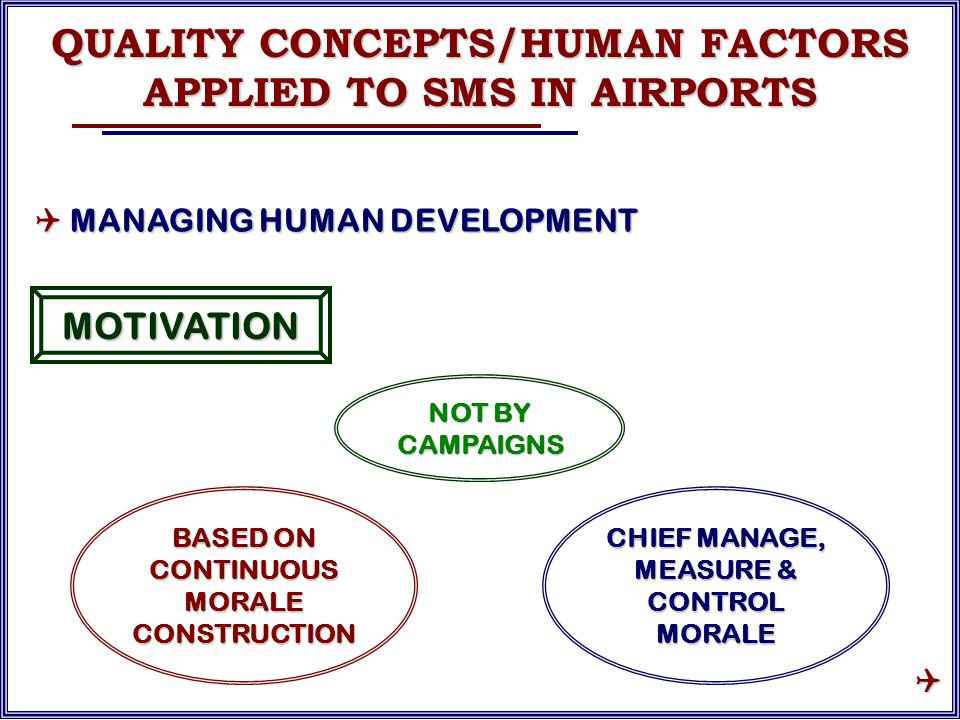 NOT BY CAMPAIGNS MOTIVATION BASED ON CONTINUOUS MORALE CONSTRUCTION CHIEF MANAGE, MEASURE & CONTROL MORALE QUALITY CONCEPTS/HUMAN FACTORS APPLIED TO SMS IN AIRPORTS  MANAGING HUMAN DEVELOPMENT 