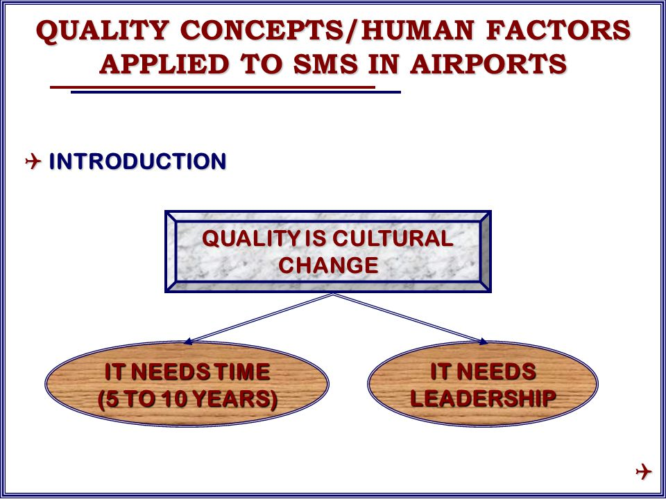 QUALITY IS CULTURAL CHANGE IT NEEDS LEADERSHIP IT NEEDS TIME (5 TO 10 YEARS) QUALITY CONCEPTS/HUMAN FACTORS APPLIED TO SMS IN AIRPORTS  INTRODUCTION 