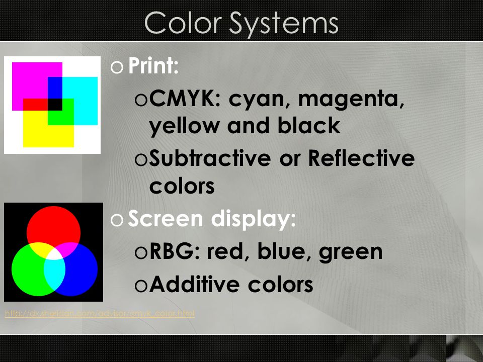 Color Systems o Print: o CMYK: cyan, magenta, yellow and black o Subtractive or Reflective colors o Screen display: o RBG: red, blue, green o Additive