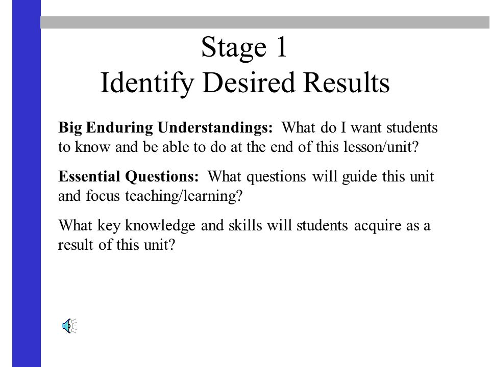 Stage 1 Identify Desired Results Big Enduring Understandings: What do I want students to know and be able to do at the end of this lesson/unit? Essent
