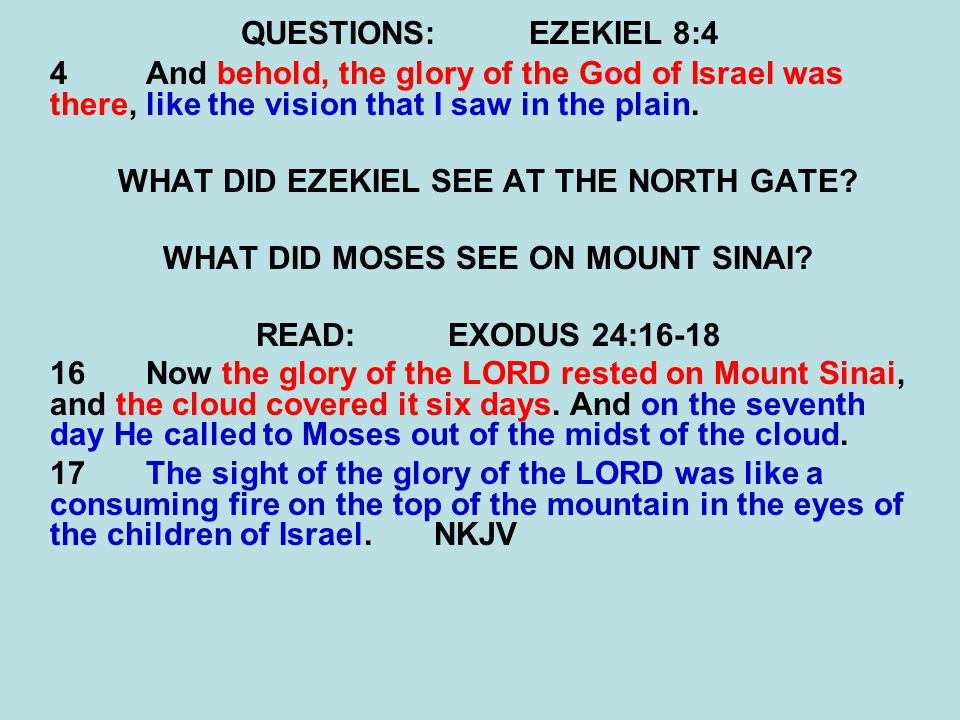 QUESTIONS:EZEKIEL 8:4 4 And behold, the glory of the God of Israel was there, like the vision that I saw in the plain. WHAT DID EZEKIEL SEE AT THE NOR