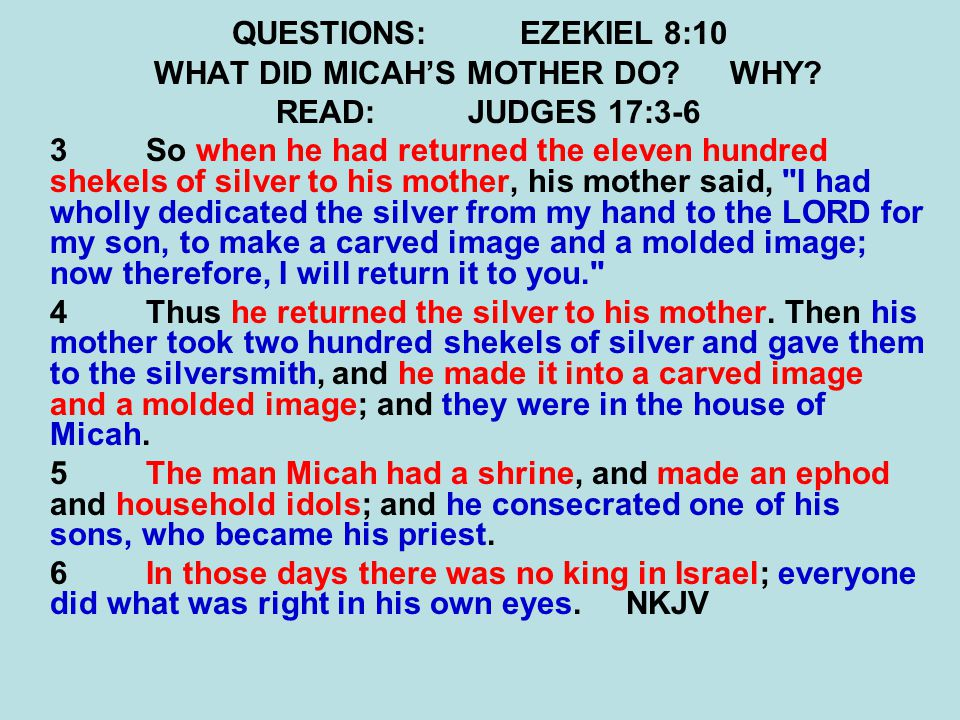 QUESTIONS:EZEKIEL 8:10 WHAT DID MICAH'S MOTHER DO WHY.