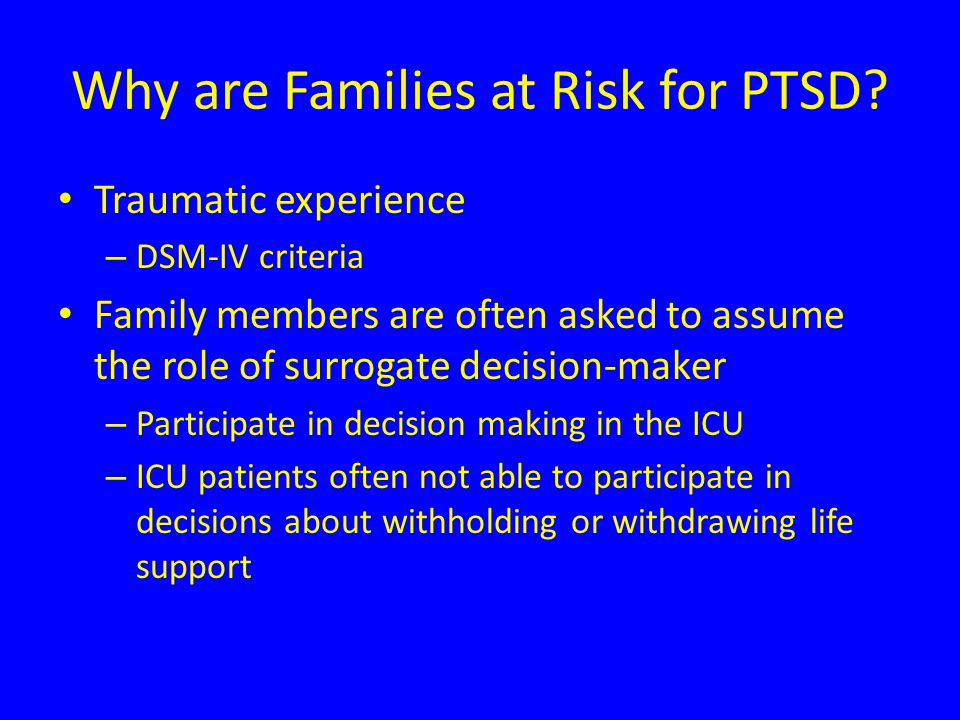 Why are Families at Risk for PTSD.