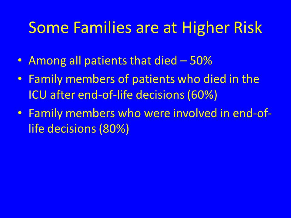 Some Families are at Higher Risk Among all patients that died – 50% Family members of patients who died in the ICU after end-of-life decisions (60%) Family members who were involved in end-of- life decisions (80%)