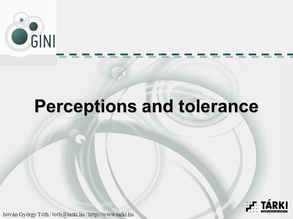 István György Tóth / toth@tarki.hu / http://www.tarki.hu Perceptions and tolerance