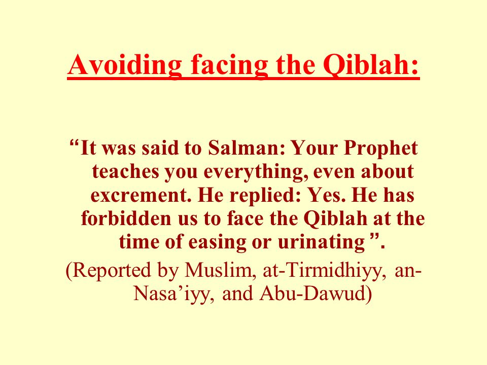 """Avoiding facing the Qiblah: """"It was said to Salman: Your Prophet teaches you everything, even about excrement. He replied: Yes. He has forbidden us to"""