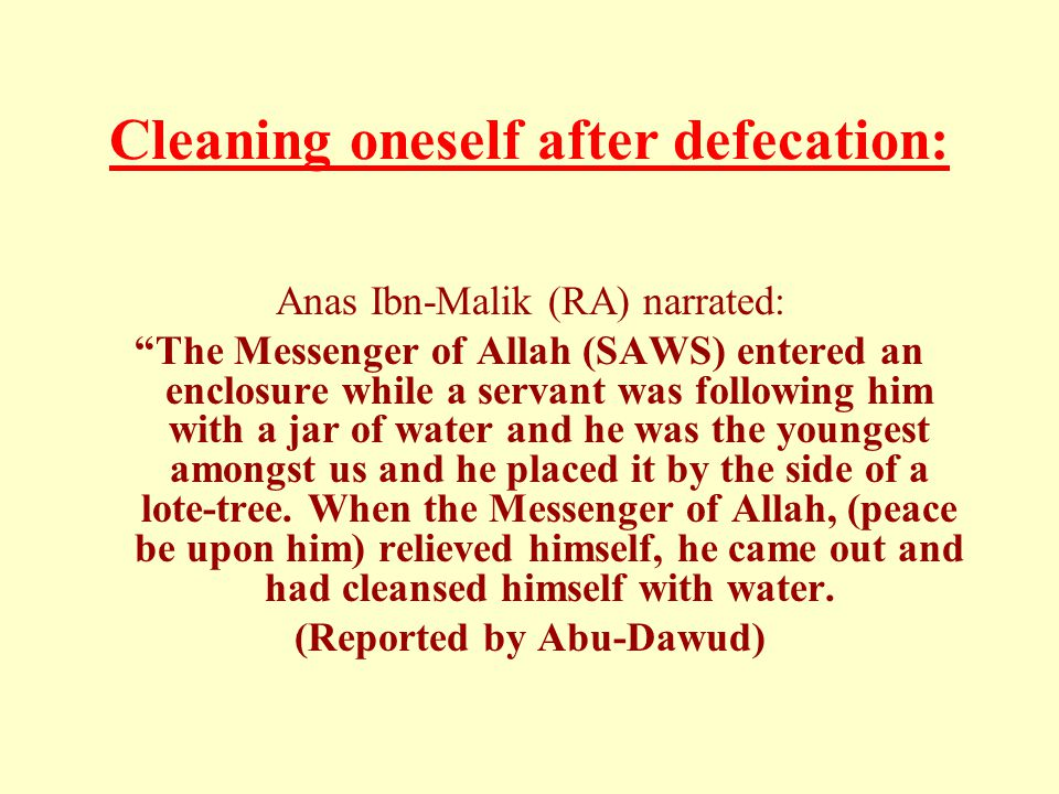 Cleaning oneself after defecation: Anas Ibn-Malik (RA) narrated: The Messenger of Allah (SAWS) entered an enclosure while a servant was following him with a jar of water and he was the youngest amongst us and he placed it by the side of a lote-tree.