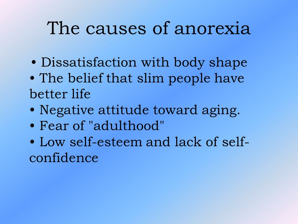 The causes of anorexia Dissatisfaction with body shape The belief that slim people have better life Negative attitude toward aging.