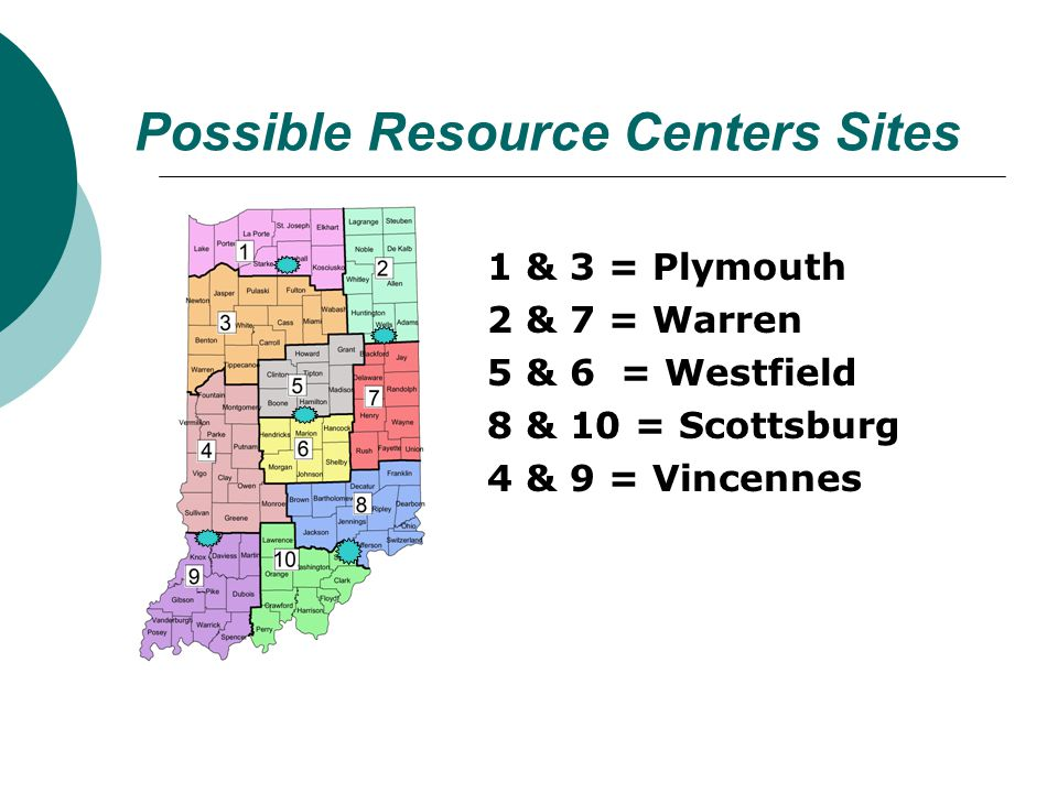 Possible Resource Centers Sites 1 & 3 = Plymouth 2 & 7 = Warren 5 & 6 = Westfield 8 & 10 = Scottsburg 4 & 9 = Vincennes