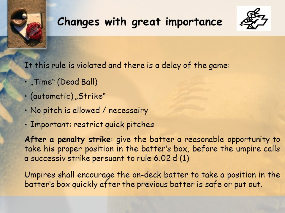Don ' t be easy on the players at the beginning of the season Don ' t develop your own philosophy This challenge exists in every sport Strict enforcement gives you self-confidence Rule changes 2008