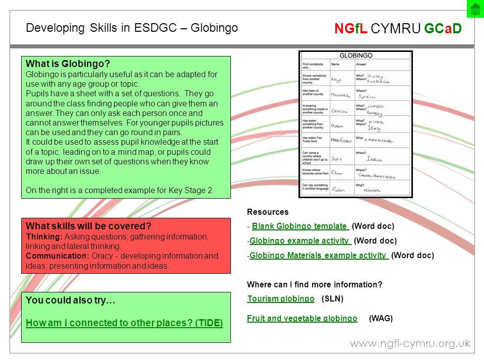 www.ngfl-cymru.org.uk NGfL CYMRU GCaD Developing Skills in ESDGC – Globingo What is Globingo.