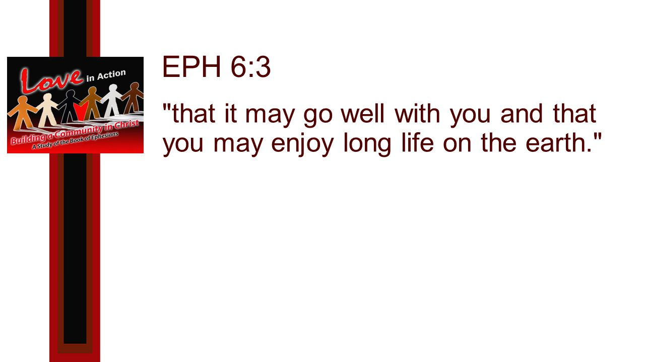 EPH 6:3 that it may go well with you and that you may enjoy long life on the earth.