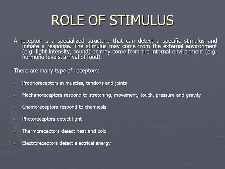 ROLE OF STIMULUS A receptor is a specialized structure that can detect a specific stimulus and initiate a response. The stimulus may come from the ext