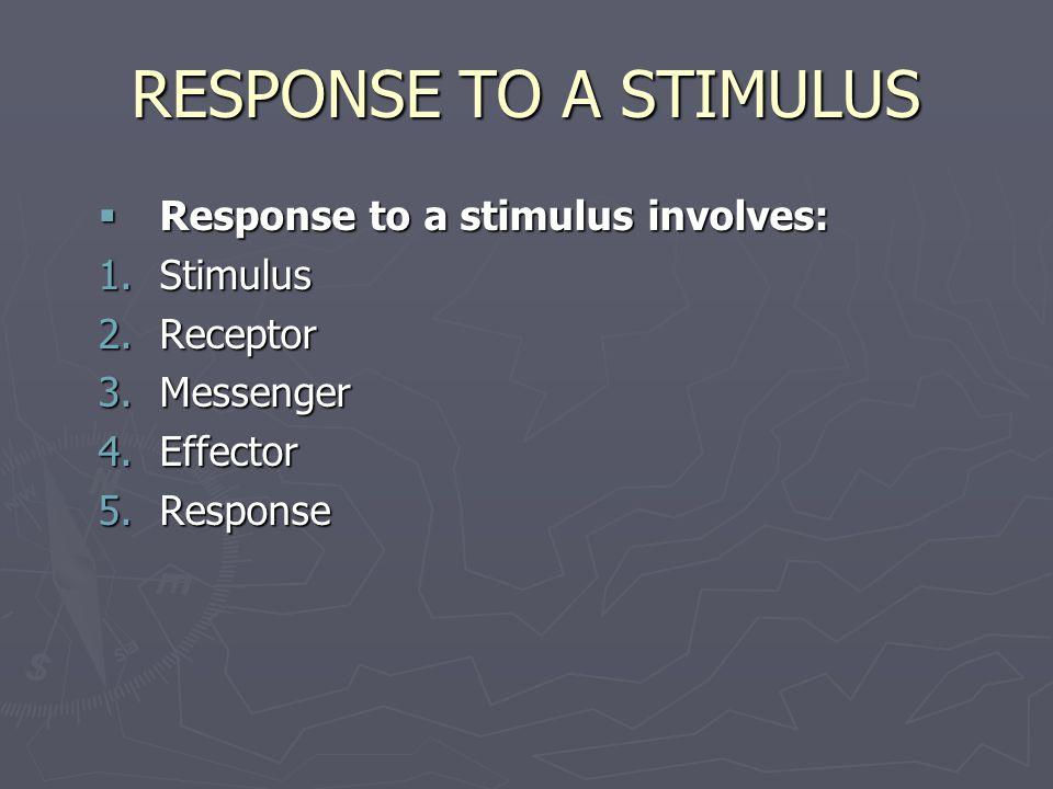 RESPONSE TO A STIMULUS  Response to a stimulus involves: 1.Stimulus 2.Receptor 3.Messenger 4.Effector 5.Response
