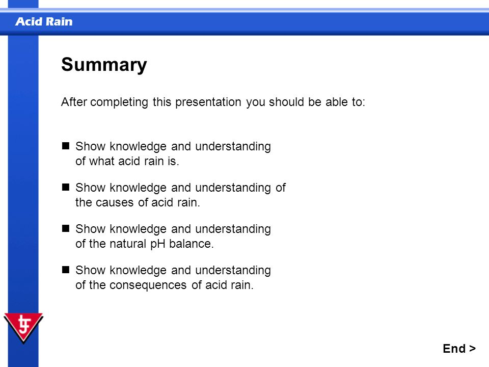 Acid Rain Show knowledge and understanding of what acid rain is. Show knowledge and understanding of the causes of acid rain. After completing this pr