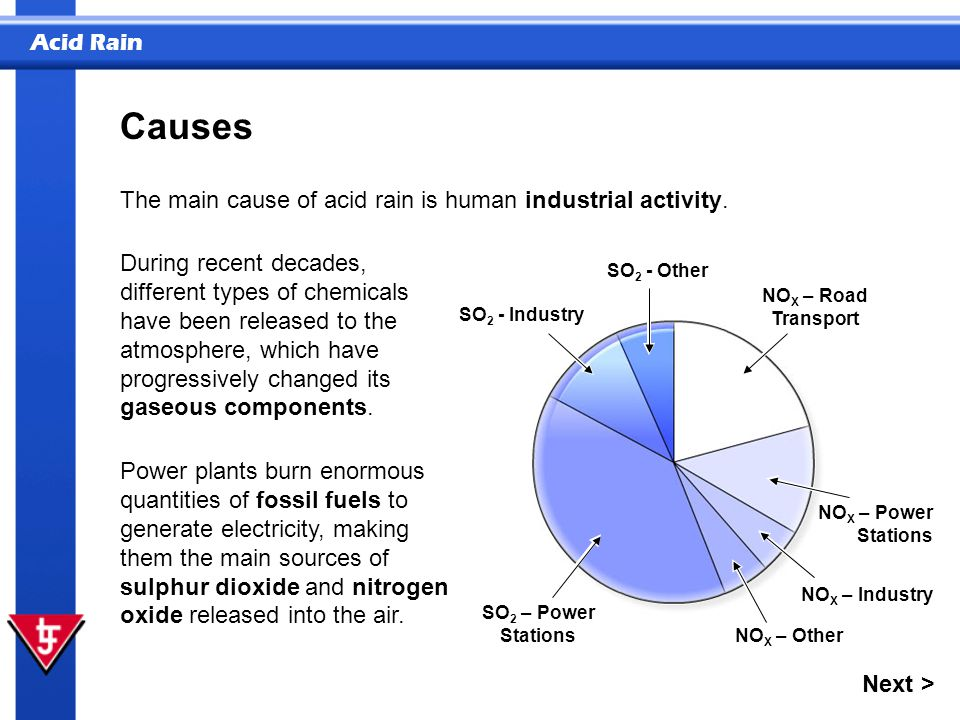 Acid Rain SO 2 - Industry SO 2 - Other NO X – Road Transport NO X – Power Stations NO X – Industry NO X – Other SO 2 – Power Stations The main cause o