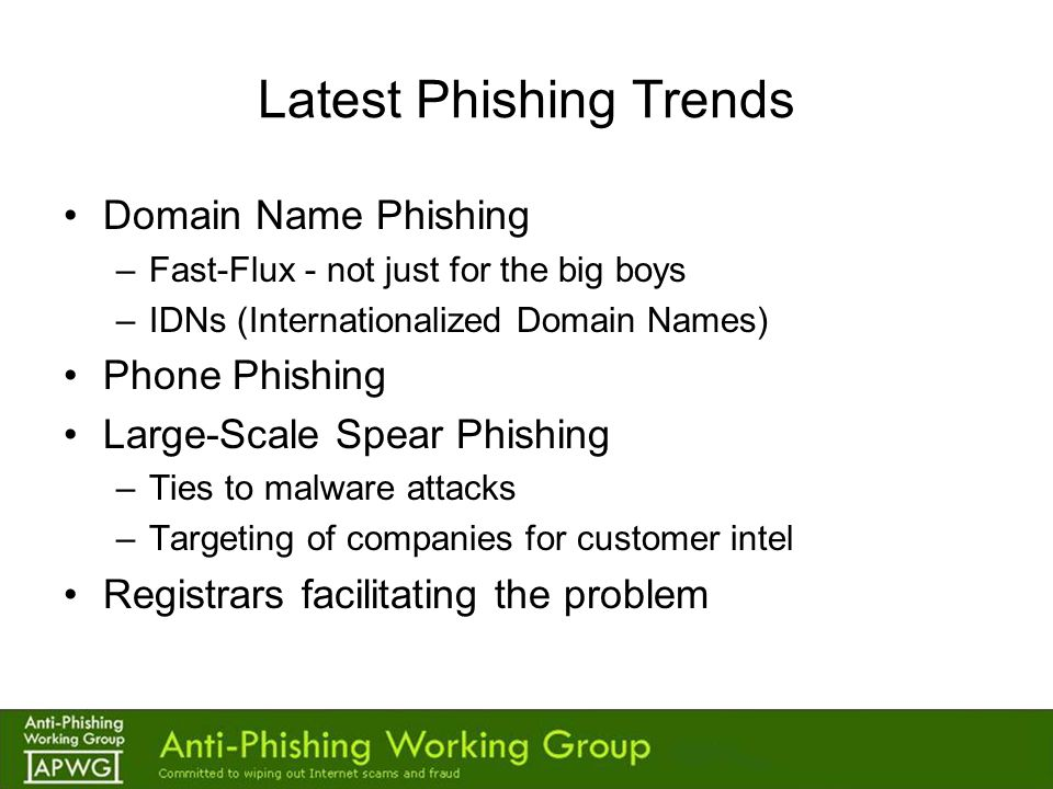 Fast-Flux for Phishing Increasing More Players.–Commercial systems from bot herders.