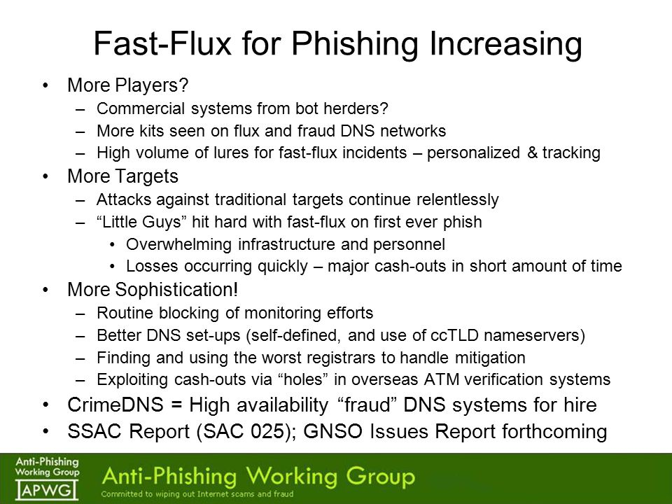 Fast-Flux for Phishing Increasing More Players. –Commercial systems from bot herders.