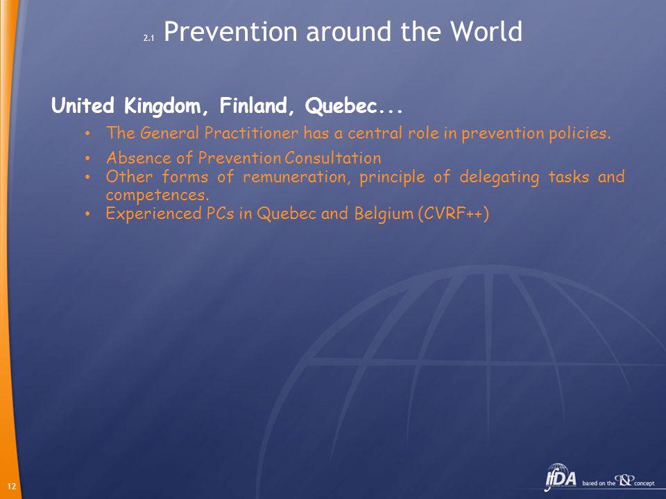 12 2.1 Prevention around the World United Kingdom, Finland, Quebec...