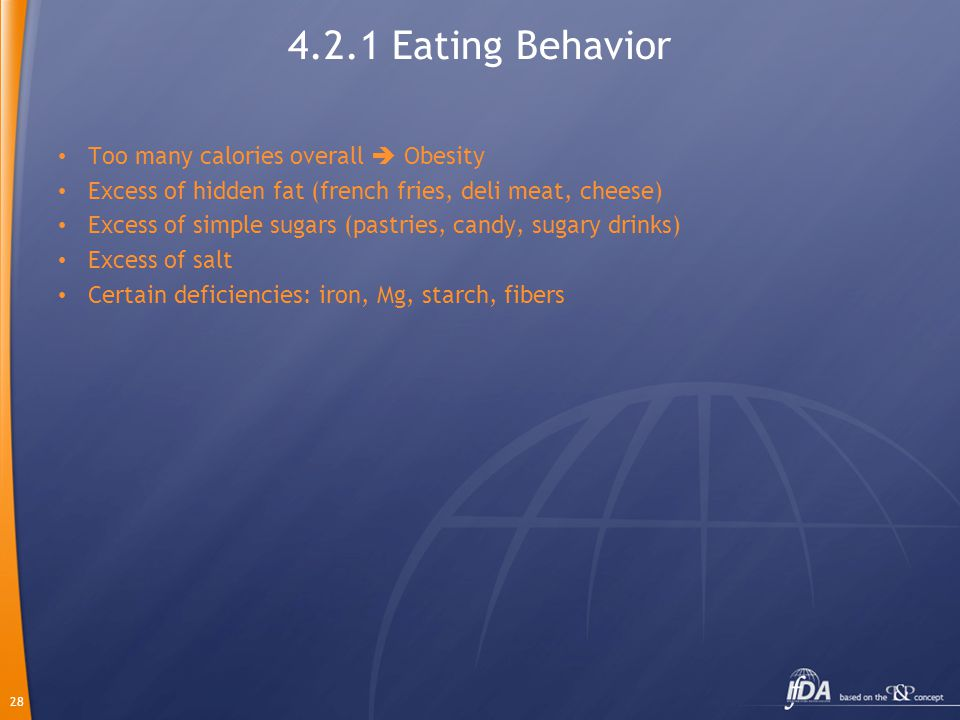 28 4.2.1 Eating Behavior Too many calories overall  Obesity Excess of hidden fat (french fries, deli meat, cheese) Excess of simple sugars (pastries, candy, sugary drinks) Excess of salt Certain deficiencies: iron, Mg, starch, fibers