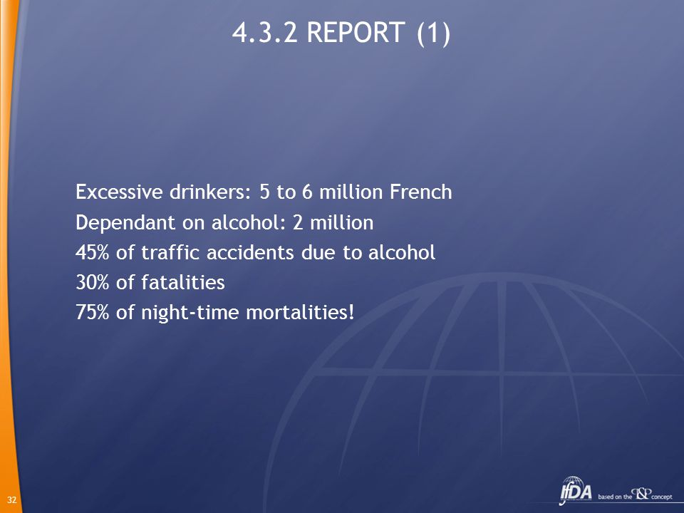 32 4.3.2 REPORT (1) Excessive drinkers: 5 to 6 million French Dependant on alcohol: 2 million 45% of traffic accidents due to alcohol 30% of fatalitie