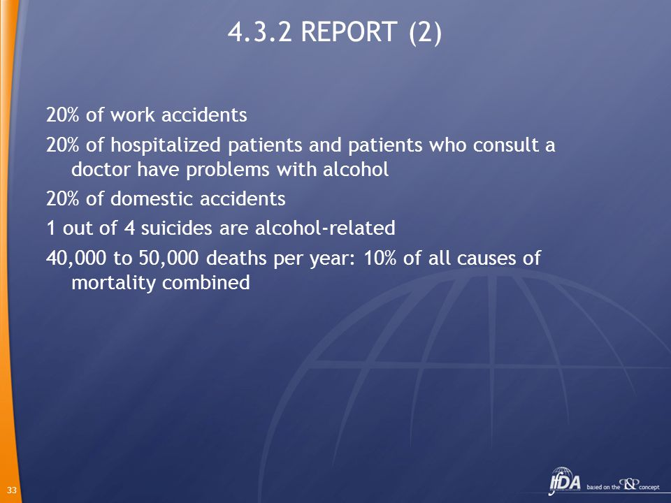33 4.3.2 REPORT (2) 20% of work accidents 20% of hospitalized patients and patients who consult a doctor have problems with alcohol 20% of domestic accidents 1 out of 4 suicides are alcohol-related 40,000 to 50,000 deaths per year: 10% of all causes of mortality combined