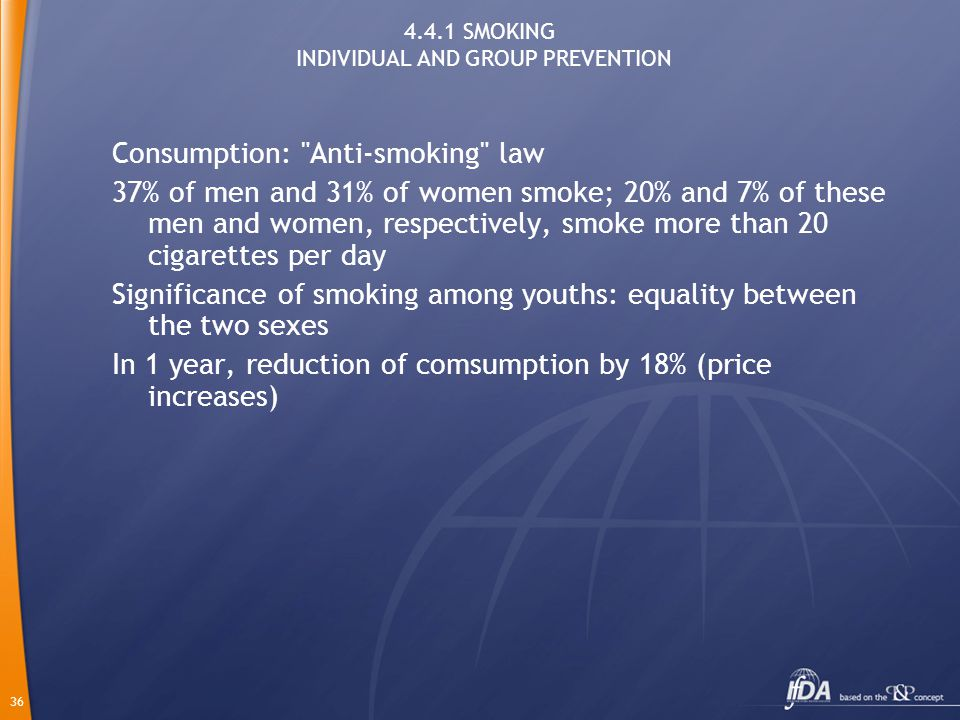 36 4.4.1 SMOKING INDIVIDUAL AND GROUP PREVENTION Consumption: