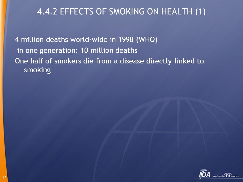 37 4.4.2 EFFECTS OF SMOKING ON HEALTH (1) 4 million deaths world-wide in 1998 (WHO) in one generation: 10 million deaths One half of smokers die from