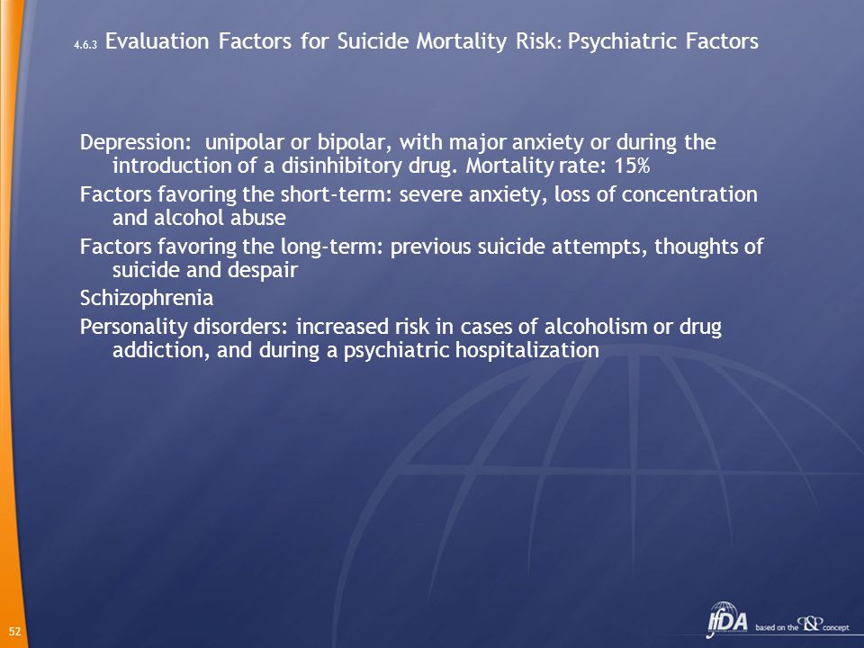 52 4.6.3 Evaluation Factors for Suicide Mortality Risk : Psychiatric Factors Depression: unipolar or bipolar, with major anxiety or during the introduction of a disinhibitory drug.